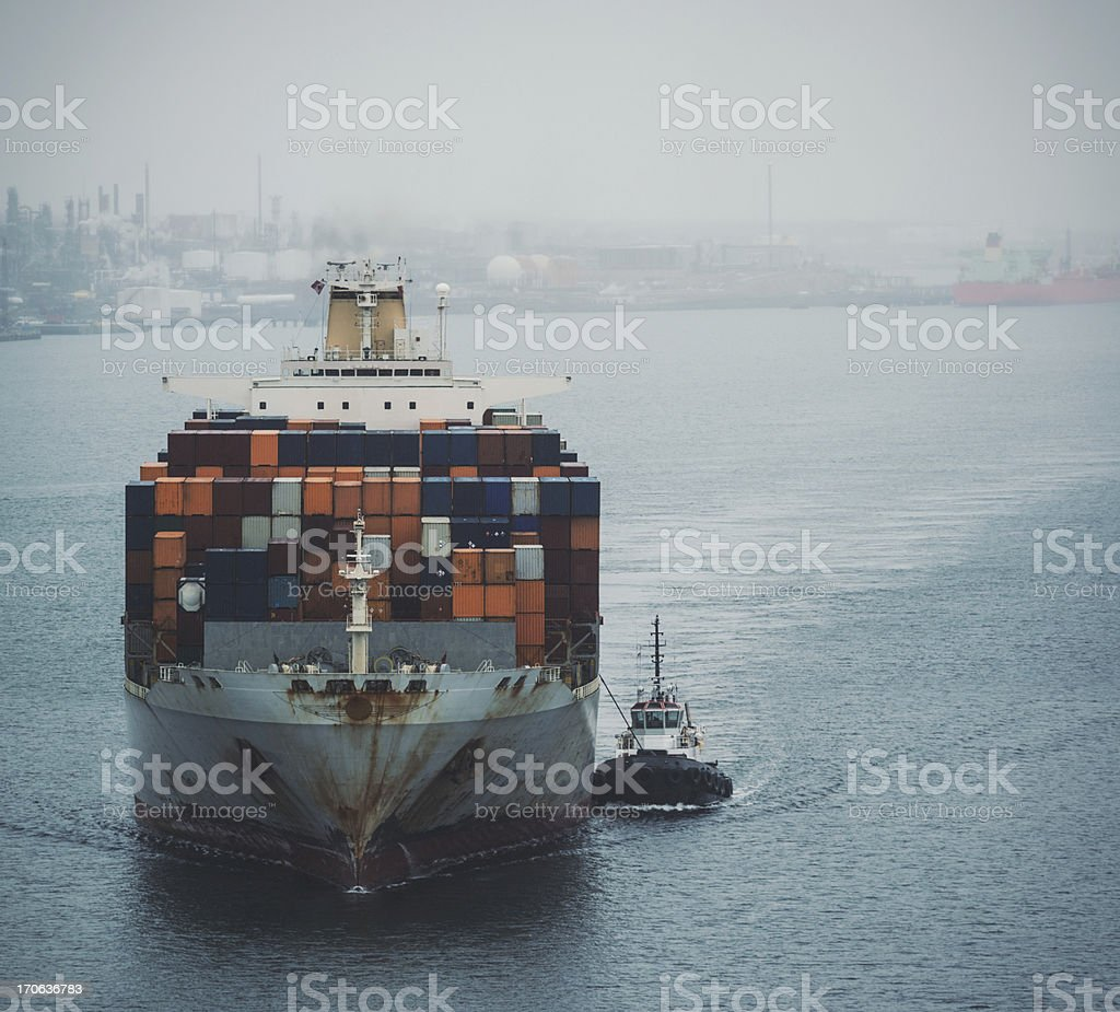 Container Ship in Harbour stock photo