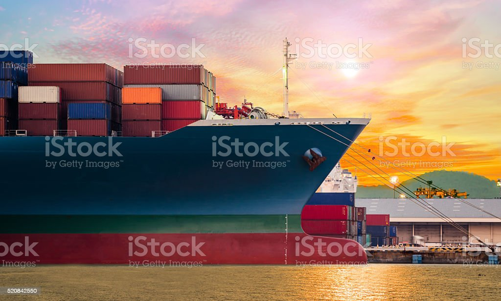 Container ship in import,export port at the harbor stock photo