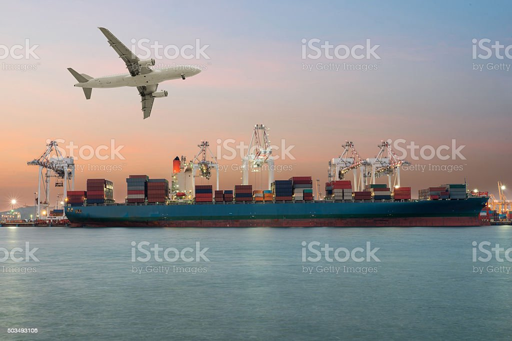 Container ship in import,export port morning light stock photo
