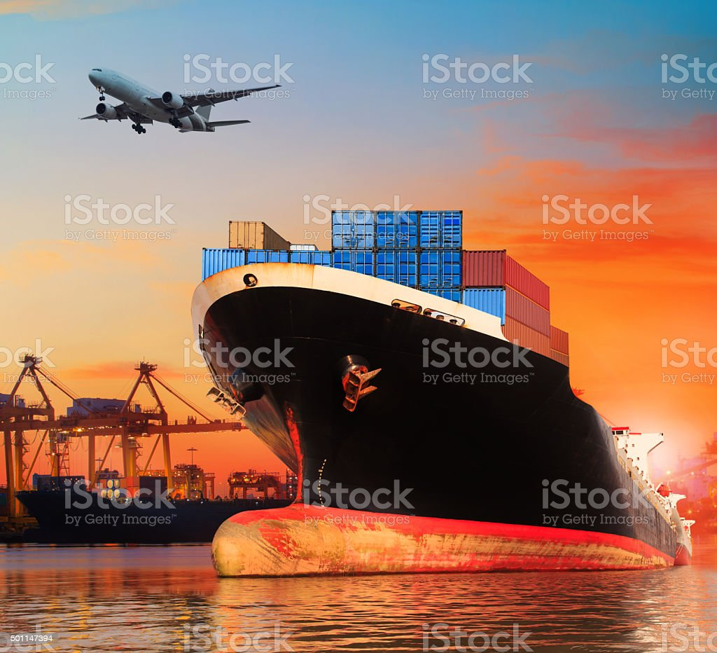 container ship in logistic and import export ship yard stock photo