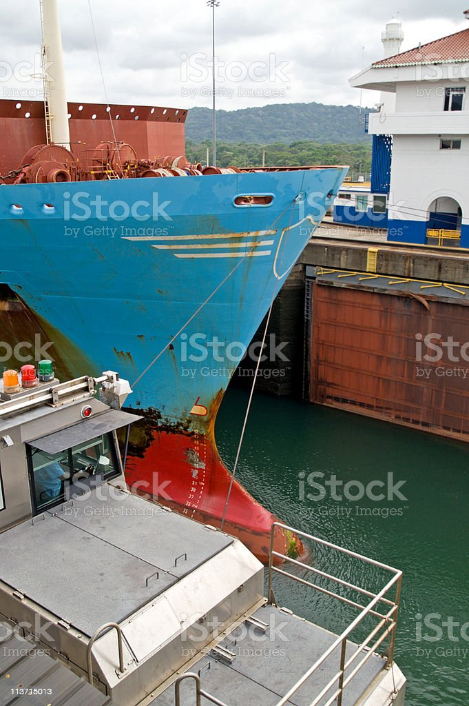 Container Ship in Panama Canal - Gatun Locks royalty-free stock photo