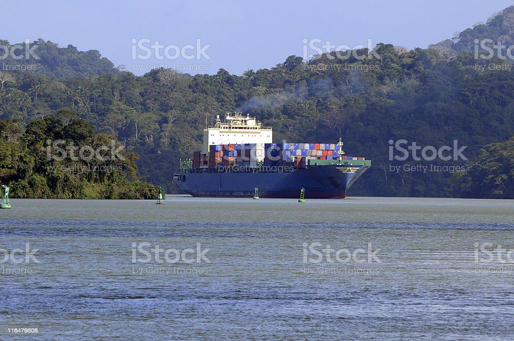 container ship in Panama Canal royalty-free stock photo