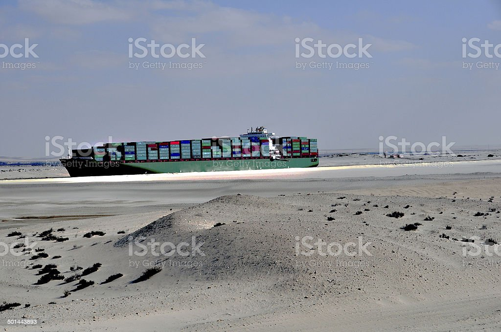 Container ship in the bypass canal at the Suez Canal stock photo