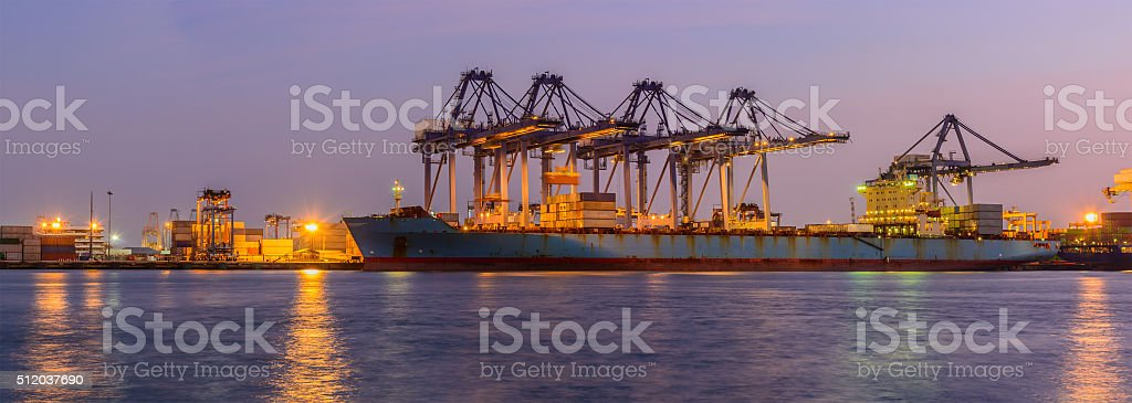 Container ship in the harbor of LeamChabang, night shot. stock photo