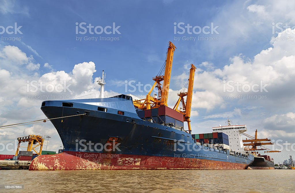 Container ship in the harbor of Thailand royalty-free stock photo
