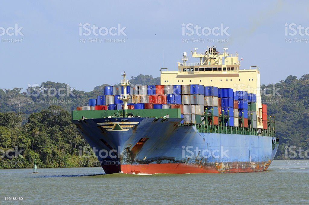 container ship in the Panama Canal stock photo