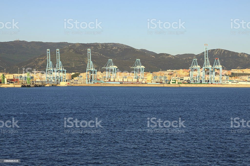 container ship in the port of algeciras, spain stock photo
