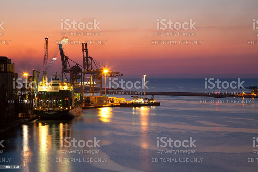 Container ship in the port of Ancona, Central Italy stock photo