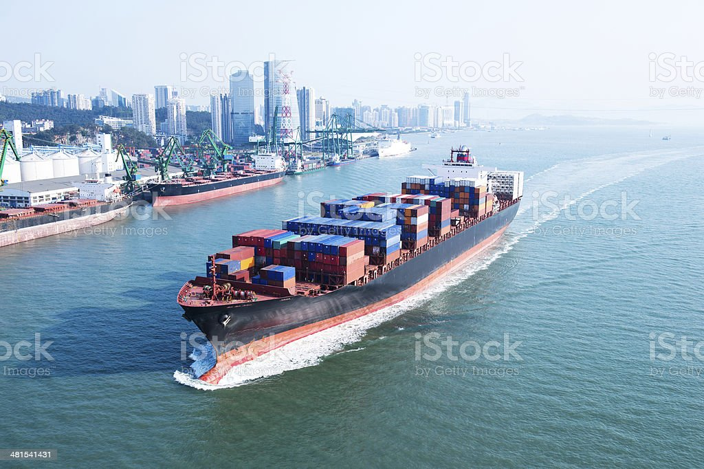 Container ship in transit stock photo