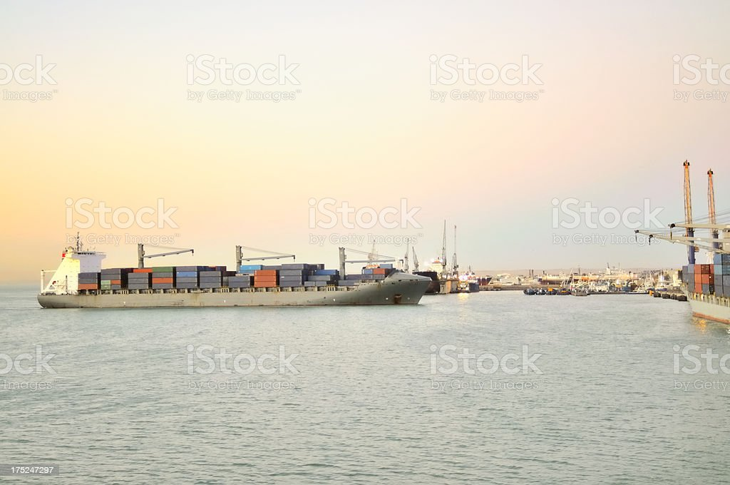 Container Ship Latavia At Walvis Bay royalty-free stock photo