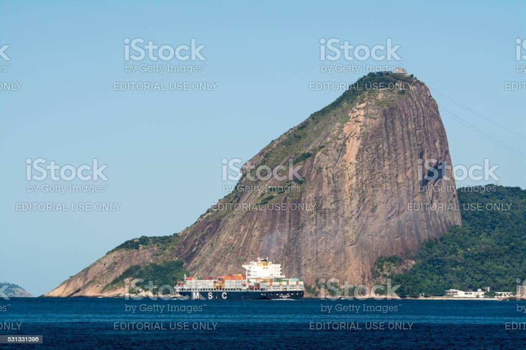 MSC container ship leaving Guanabara Bay royalty-free stock photo
