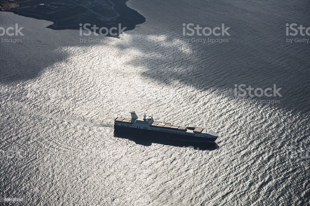 Container Ship Leaving the Port stock photo