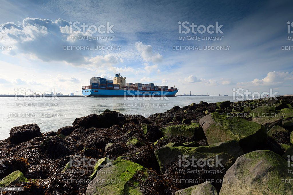 container ship Maersk Laguna leaving the port of Rotterdam stock photo