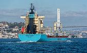 Container ship MAERSK ROUBAIX passing bosphorus bridge - Istanbul