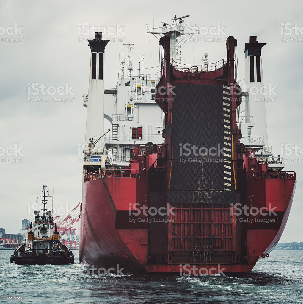 Container Ship Nearing Port stock photo