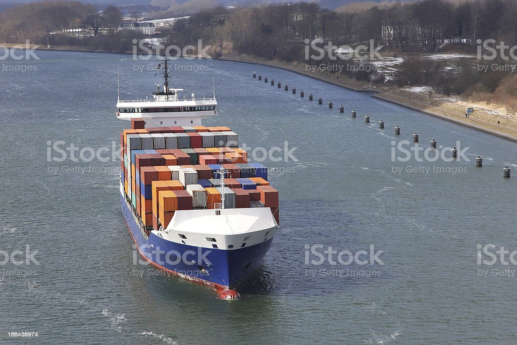 container ship on Kiel Canal royalty-free stock photo