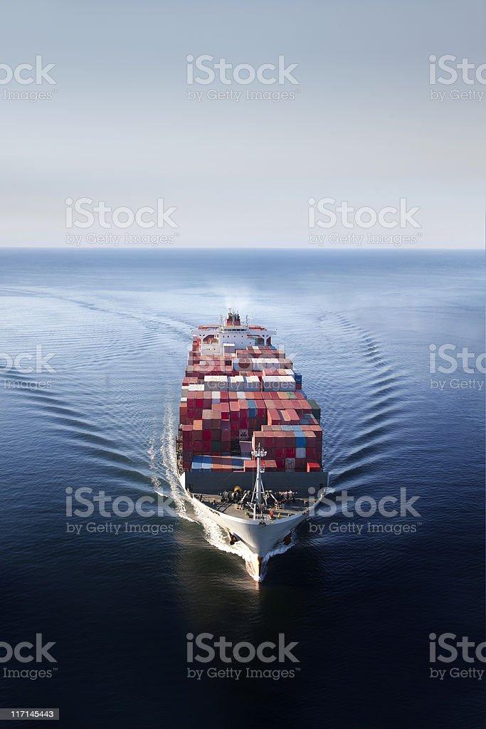 Container Ship on Open Ocean stock photo