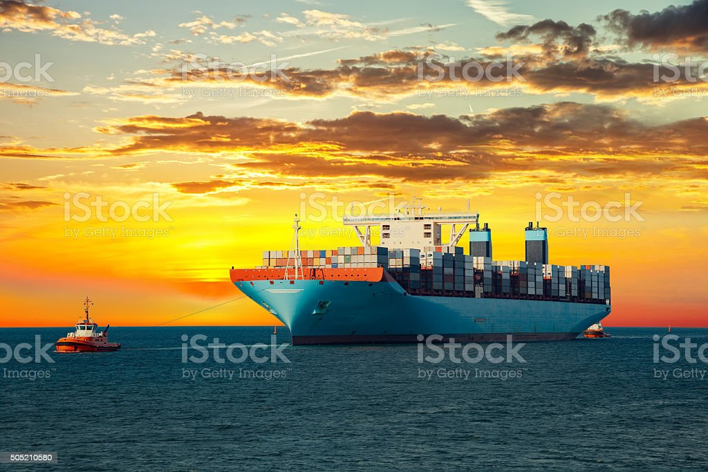 Container ship on sea stock photo