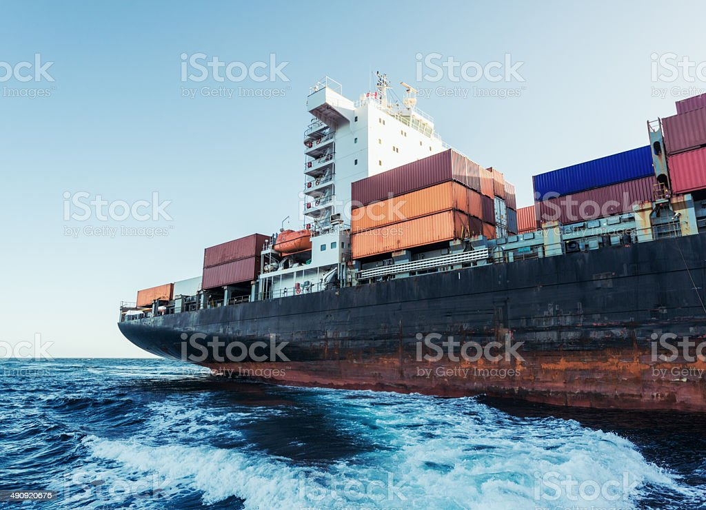 Container Ship on the Atlantic stock photo