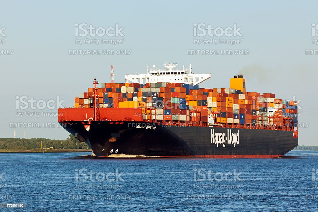 Container Ship on the Elbe river stock photo