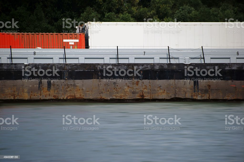 IWT container ship stock photo