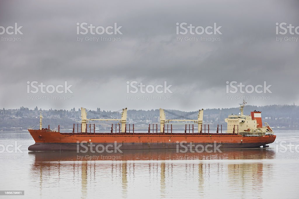 Container Ship Running Empty Into Port stock photo