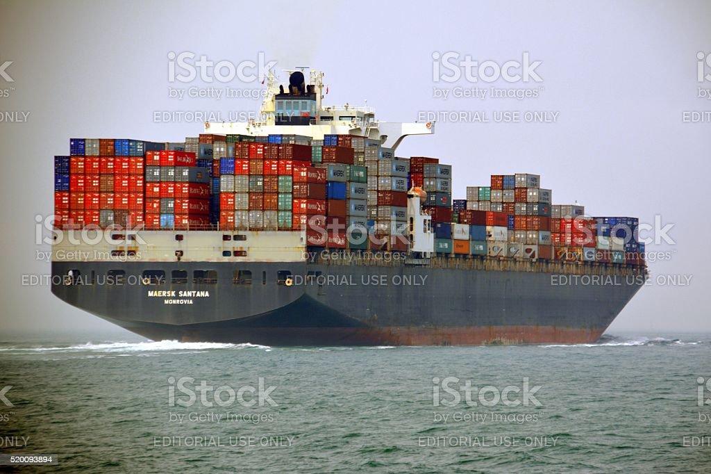 Container ship sailing towards Hong Kong stock photo