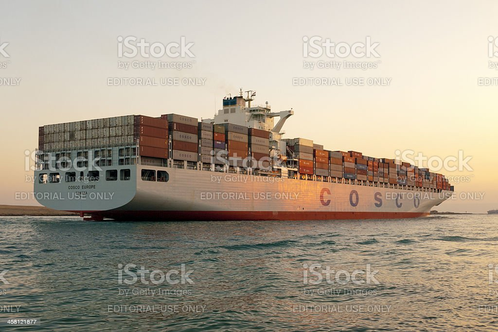 'Container Ship, Suez Canal in Egypt' stock photo