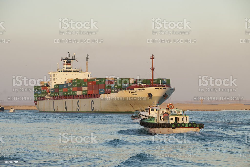 Container Ship, Suez Canal in Egypt stock photo