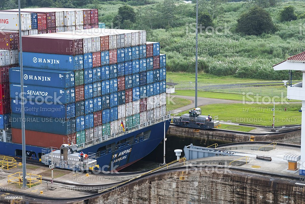 Container ship transiting the Panama Canal stock photo