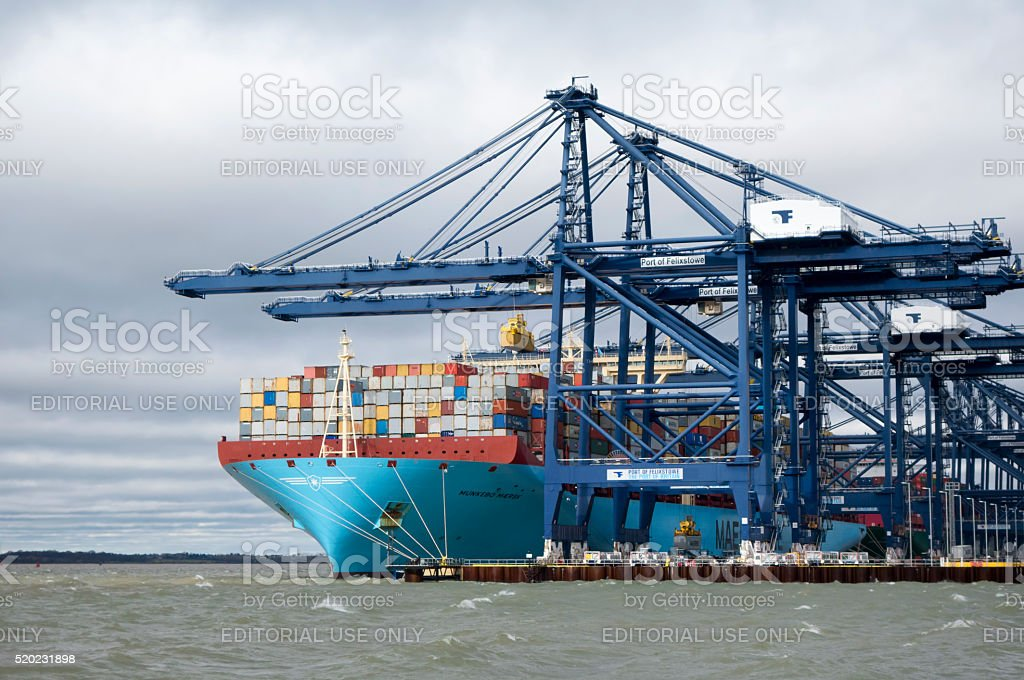 Container ship unloading at Felixstowe stock photo