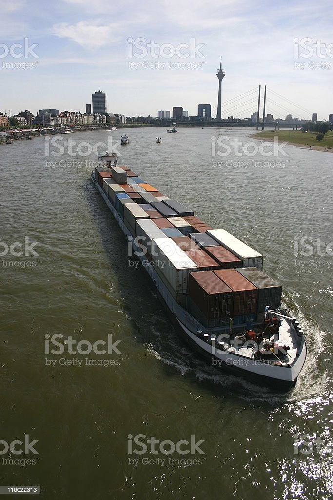 Container ship with boxes on the Rhine stock photo