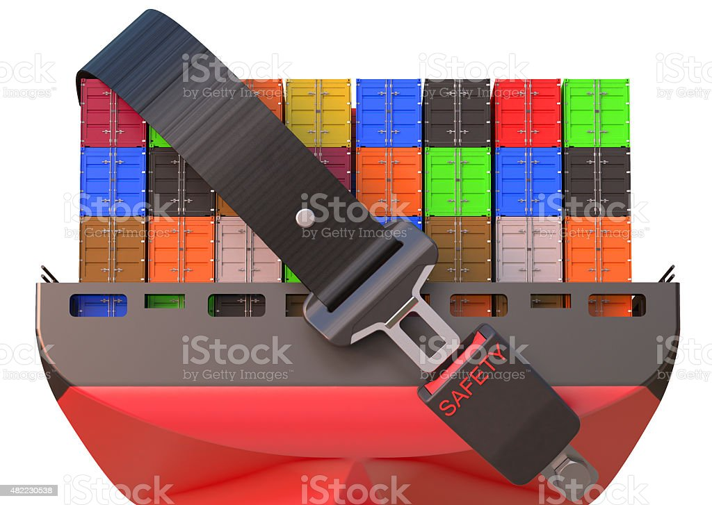 container ship with safety belt, safety delivery concept stock photo