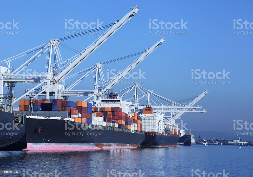 Container Shipping - Port of Oakland, California stock photo