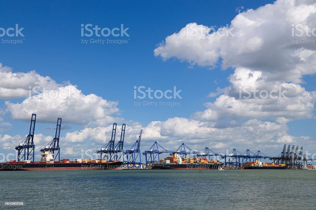 Container ships in Felixstowe port UK stock photo