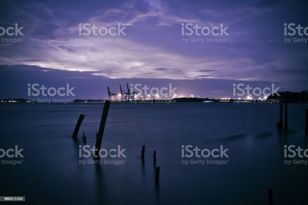 Container terminal at night long exposure stock photo