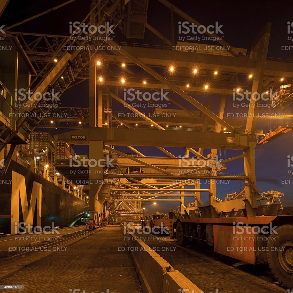 Container terminal at night royalty-free stock photo