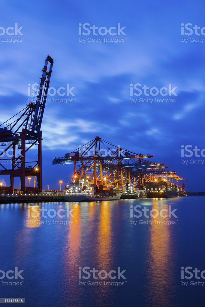 Container terminal at twilight royalty-free stock photo