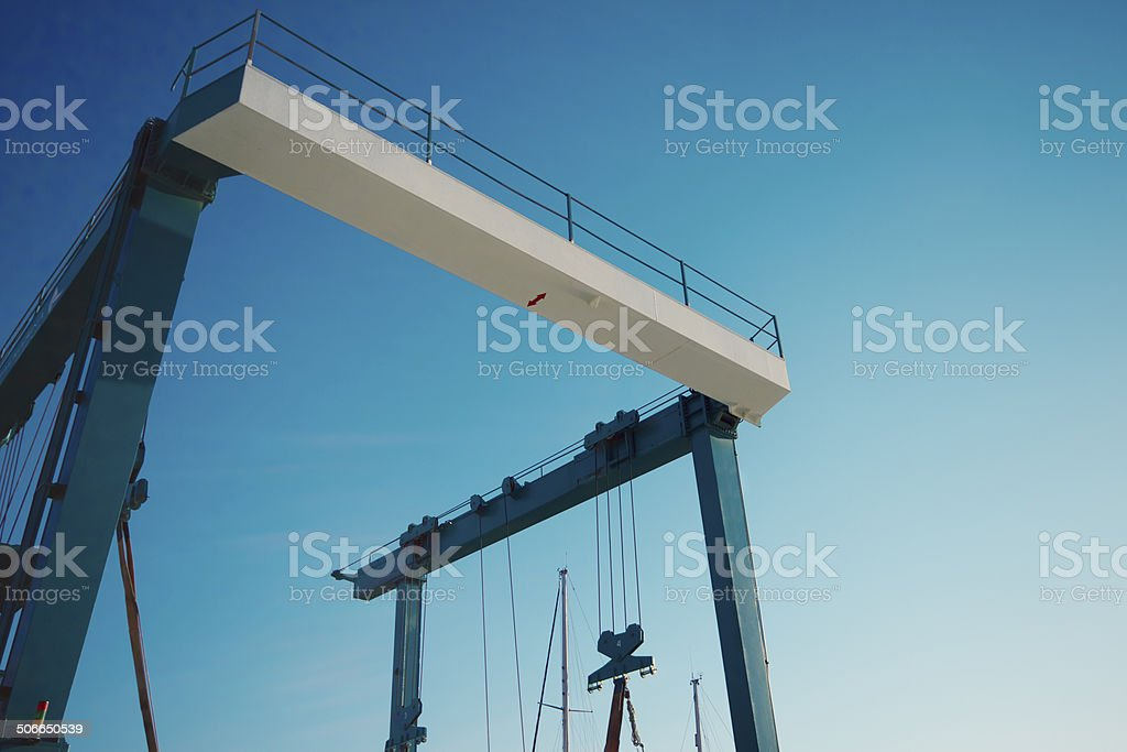Container terminal detail on sky stock photo