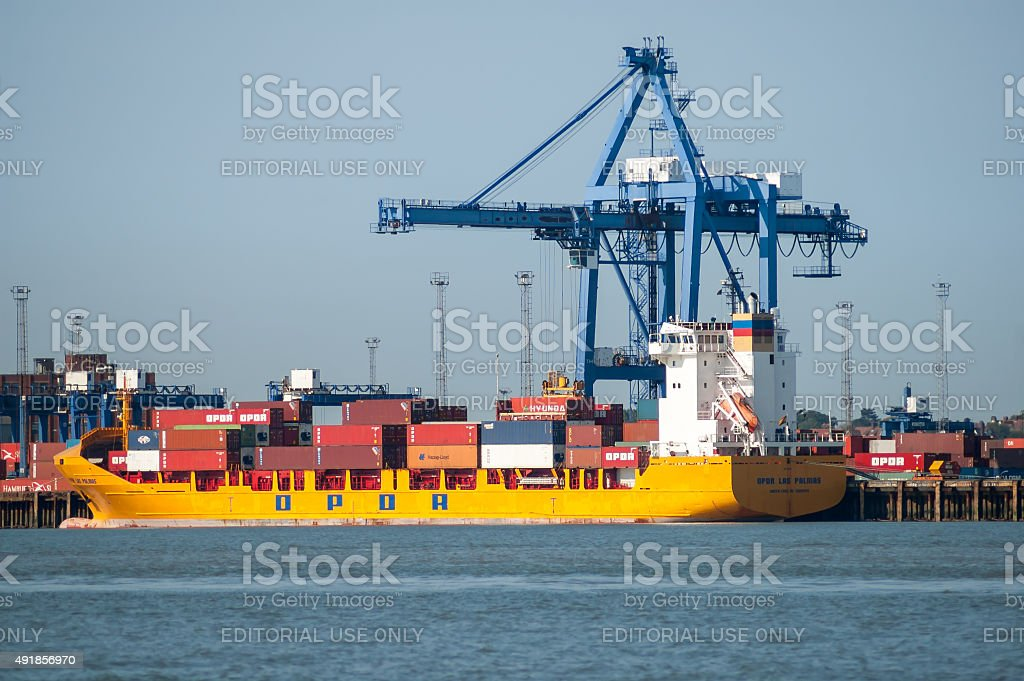 Container terminal Felixstowe, England stock photo