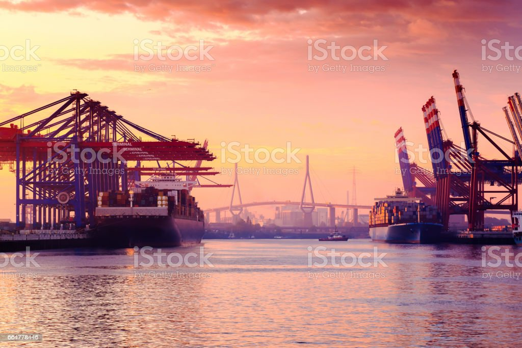 Container Terminal Hamburg - Germany stock photo