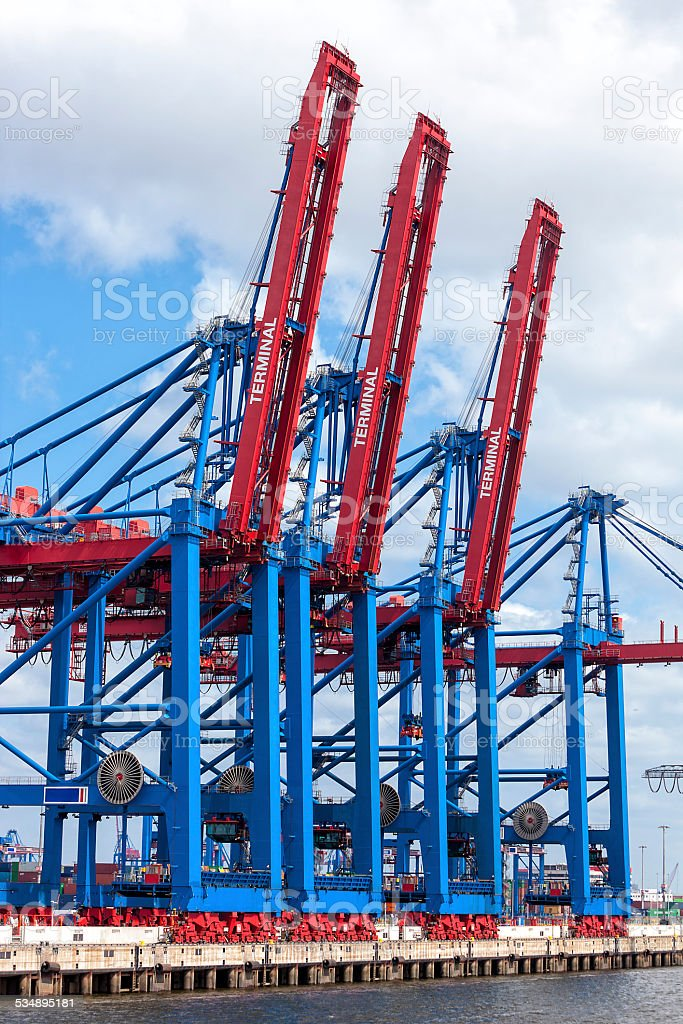Container Terminal, Hamburg Harbour, Germany stock photo