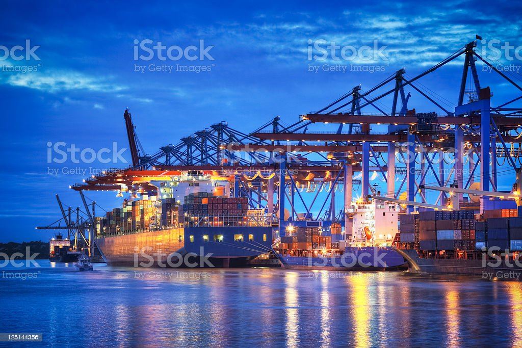 Container Terminal in Blue stock photo