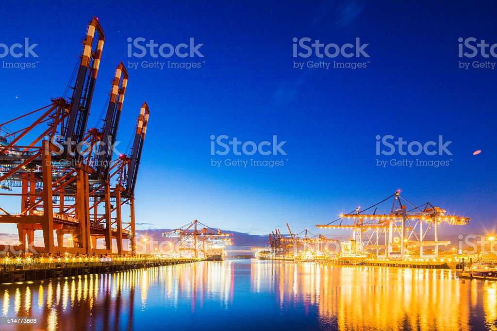 Container terminal in Hamburg harbour. stock photo