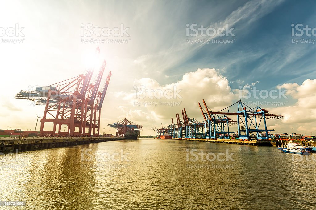 Container Terminal in Hamburg stock photo