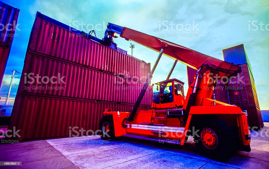 Container Terminal In Harbor stock photo