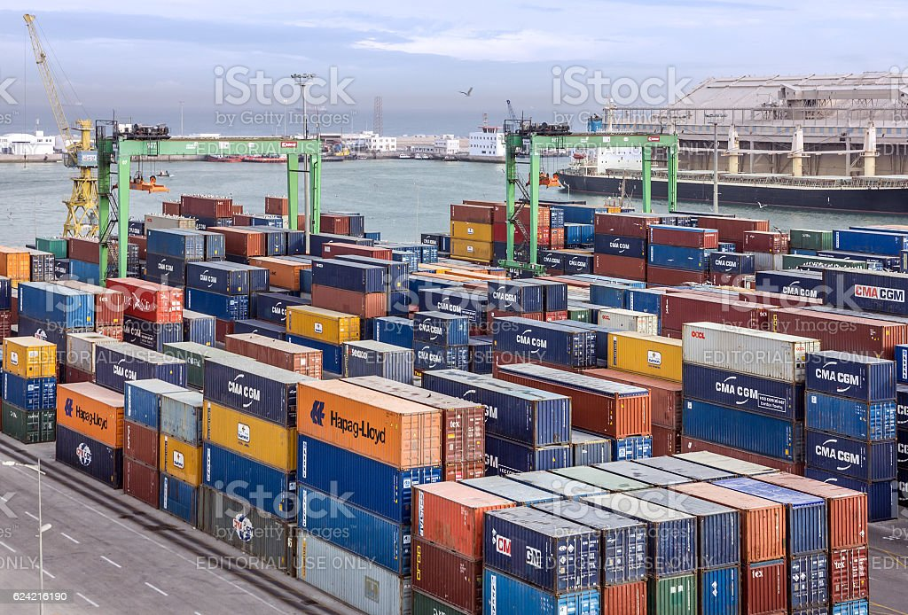 Casablanca, Morocco - January 20, 2016: Container terminal in seaport stock photo
