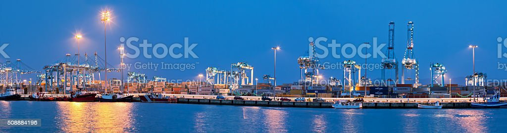 Container terminal in the industrial port of Algeciras stock photo