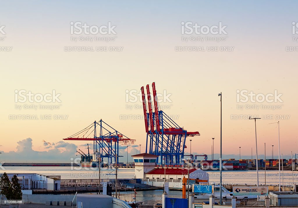 Container terminal in the industrial port of Malaga stock photo