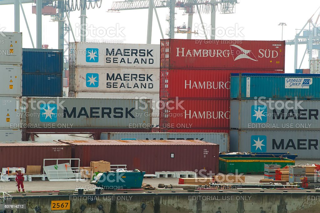 Container terminal in the Port of Rotterdam stock photo